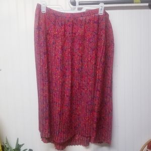 Vintage Patterned Pleated Skirt Size 20W